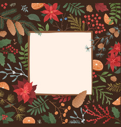 Winter holiday flat square background vector