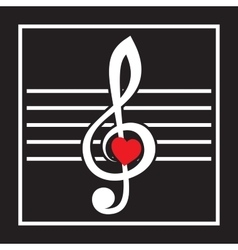 with treble clef and heart on black vector image