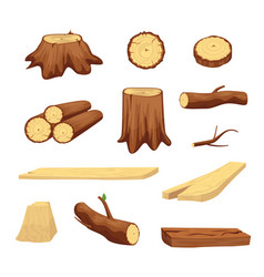 Wooden trunk materials and firewood set vector