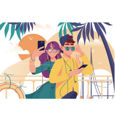 young man and woman couple with mobile phone vector image