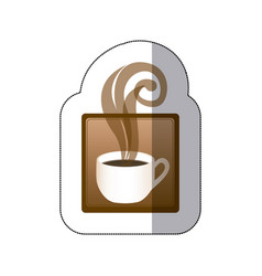 brown squard symbol of coffee cup vector image