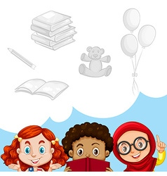 Children and other objects vector image