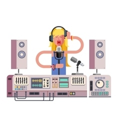 Girl singing in sound recording studio vector image vector image