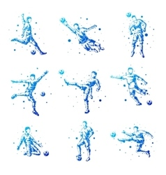 Set of abstract football players isolated vector