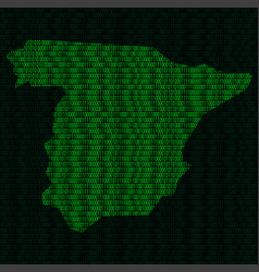 silhouette of spain from binary digits vector image vector image