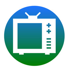 tv sign white icon in bluish vector image
