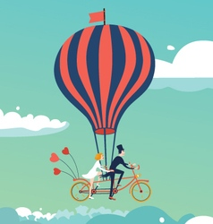 Bike above the clouds vector image vector image