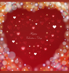 blur colorful valentine day background with hearts vector image