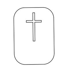 Cross Christian faith symbol icon outline style vector image