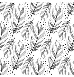 Large black fluffy feathers pattern with dots vector