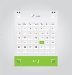 October 2013 Calendar vector image vector image
