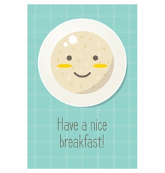 Smiling plate with oatmeal porridge healthy food vector