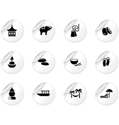 Stickers with thai icons vector image vector image