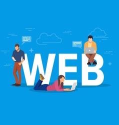 web concept young people using vector image