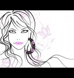 beautiful girl with long hair vector image