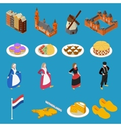 Netherlands Tourist Icons vector image