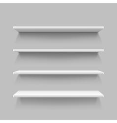 Empty white shop shelf retail shelves 3d store vector image