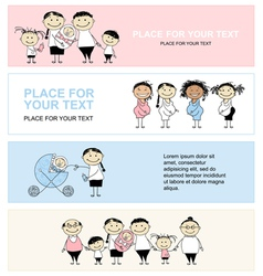 family with children banners vector image vector image
