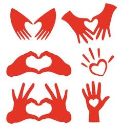 Heart hands set vector