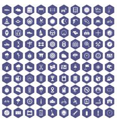 100 motorsport icons hexagon purple vector