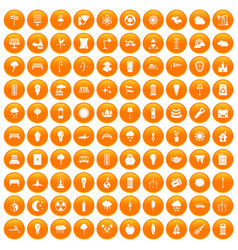 100 street lighting icons set orange vector