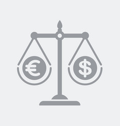 a scales compare euro and dollar vector image