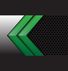 Abstract twin green arrow silver grey circle mesh vector