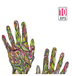 Abstract wave hands with ornament vector