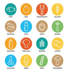 Allergen icons set vector