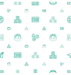 Alphabet icons pattern seamless white background vector