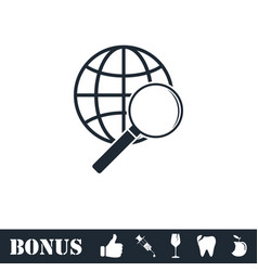 analyzing world icon flat vector image
