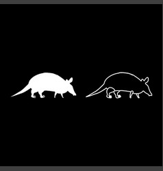 Armadillo icon set white color flat style simple vector
