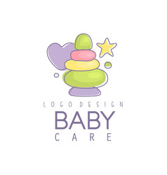 Baby care logo design emblem with colorful vector