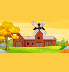 Big farm house with autumn forest background vector