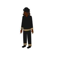 Black isometric firewoman vector image