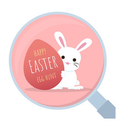 bunny behind easter egg with magnifying glass vector image