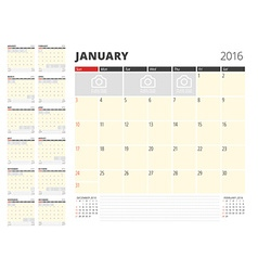 Calendar Planner Template for 2016 Year Design vector image