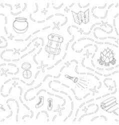 camping pattern with tent bonfire map sleeping bag vector image