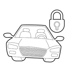 Car and padlock icon isometric 3d style vector