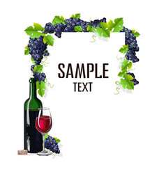 card template with a glass of wine and grapes vector image