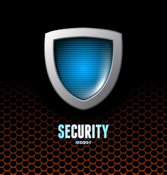 Card with steel glossy lightened shield vector image