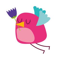 Cartoon cute bird with tulip flower in beak vector