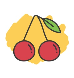 Cartoon doodle cherry vector image