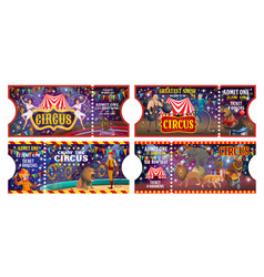circus tickets animal jugglers and clowns show vector image