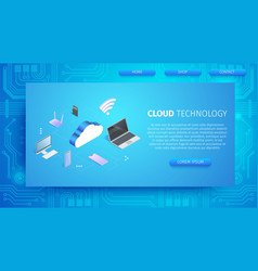 cloud technology horizontal banner with copy space vector image