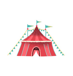 Colorful red circus tent decorated with festive vector