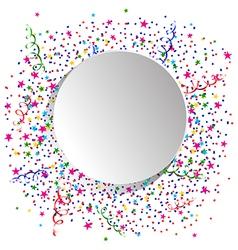 Confetti and white round vector