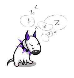 Cute cartoon dog sleeping white bull vector