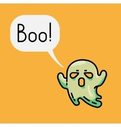 Cute ghost and speech bubble with text Boo vector