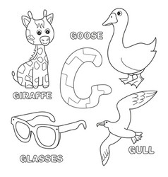 cute giraffe goose glasses gull for letter g in vector image